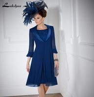 Hot Sale Two Piece Royal Blue Mother of Bride Dresses Knee Length Chiffon 3/4 Sleeve Mother's Dress