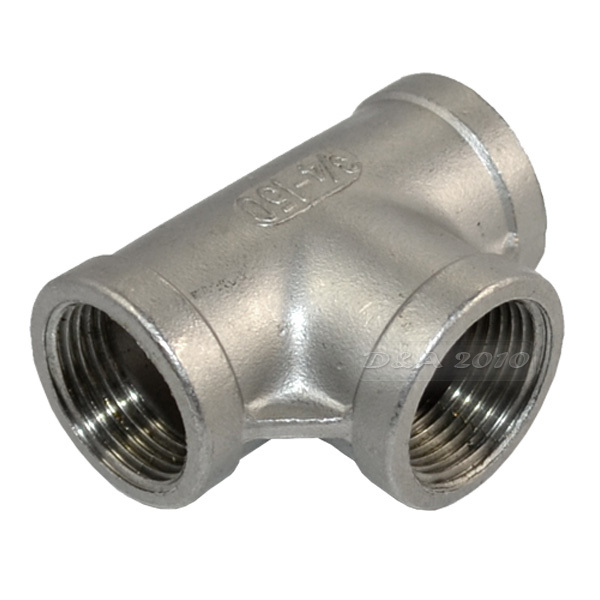 MEGAIRON 3/4 Tee 3 way F/F/F Threaded Pipe Fittings Stainless Steel SS 304 Female x Female x Female 57mm