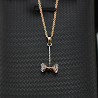 Rigant 18K Gold Plated Bow Know Design 6 Mm Cubic Zircon Women Pendant Necklace Fashion Crystal