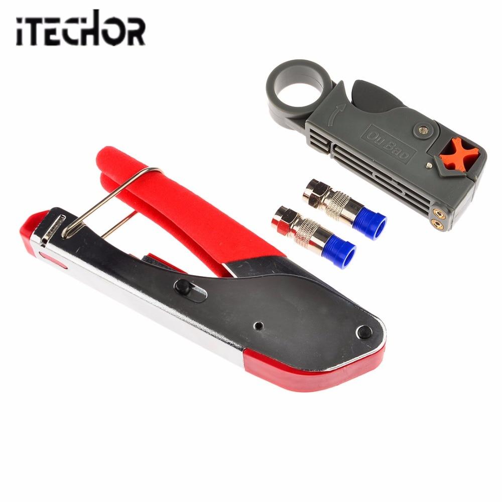 ITECHOR Coax presskabel Wasserdichten Stecker Crimpzange Werkzeug ...