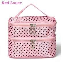 2017 Cute Dot 2 Layer Cosmetic Bag Women Travel Necessaries high-capacity Storage Makeup Organizer Handbags mujer bolsos WM479X