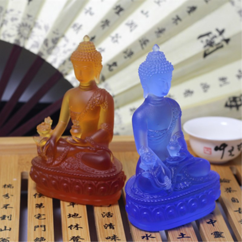 Colored Claze Buddha statue Fengshui God of Wealth Resin Crafts Opening Gifts Treasure Bowl Home Office Cornucopia Decoration