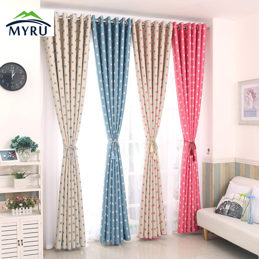 2017 Polka Dots Blackout Window Curtains Children Curtain