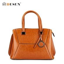 DUSUN Vintage Women Genuine Leather Handbag Famous Brand Geometry Style Messenger Bag Women Casual Totes Woman