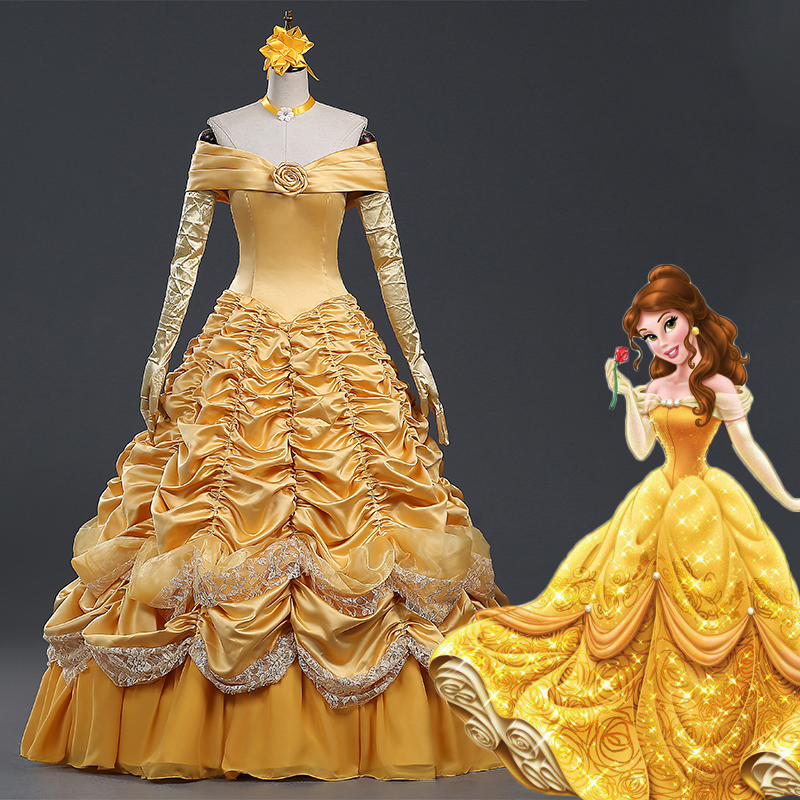Belle Princess Wedding Dress Cosplay Costume Beauty and the Beast Disfraz Belle Adulto Halloween Carnival Birthday Party Costume