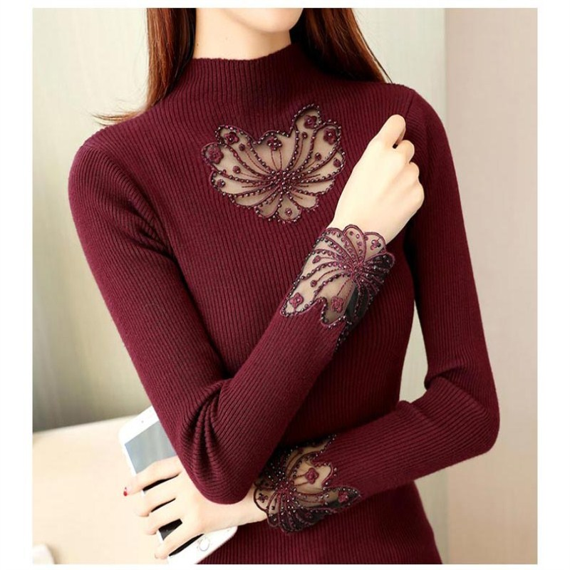 Sweaters Dingaozlz Autumn Winter High Collar Sweater Tops Patchwork Rhinestone Mesh Lace Knitted Sweater Casual Women Pullover Shirt