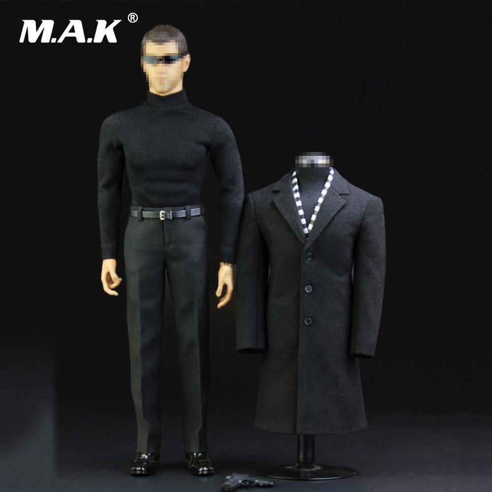 1/6 Scale Man Clothes Agent of Overcoat Suits & Shoes & Pistol for 12'' Muscular Figure Body 1 6 scale figure doll muscular body for 12 action figure doll accessories europe strong muscles or asia muscular body