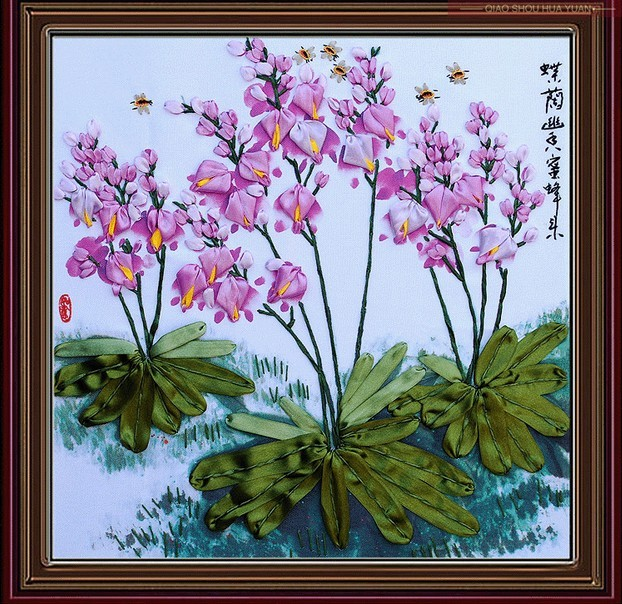 3d Orchid Satin Silk Ribbon Embroidery Handcraft Plant Flower Cross