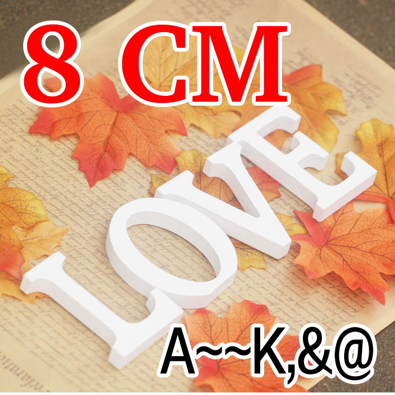 8cm Artificial Wood White Letters Birthday wedding <font><b>decoration</b></font> imitation Wood Letter trumpet size 1PCS <font><b>Home</b></font> <font><b>Decoration</b></font>