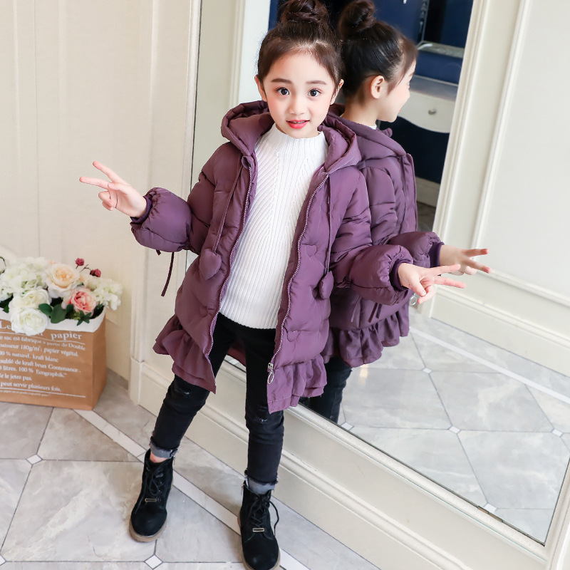 New Fashion Children Winter Jacket Cute Girl Winter Coat Kids Warm Thick Hooded with Bow Long Down Coats for Teenage3-13Y CA447 bow back hooded jacket