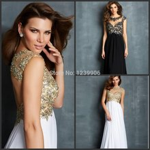 Free Shipping New A-line Bateau Sleeveless Chiffon Lace White Prom Dresses 2015 backless Sexy Evening Dress With Beading