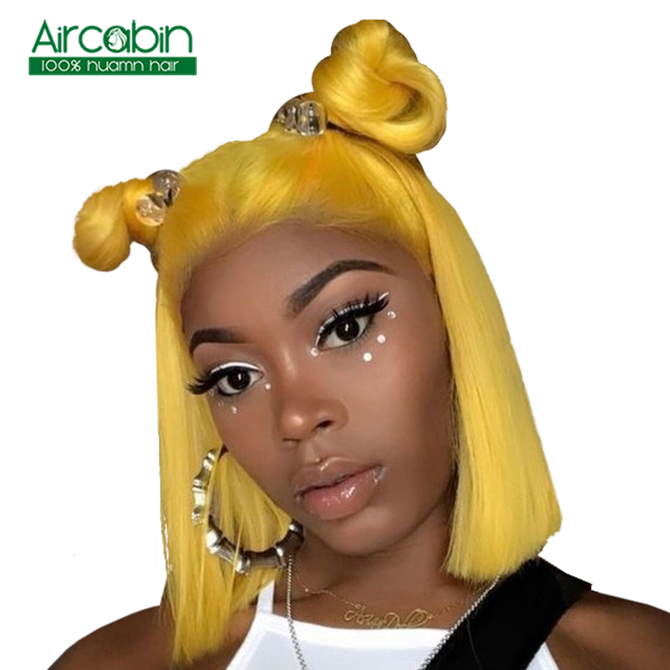 Short Lace Front Human Hair Bob Wigs For Black Women Brazilian Straight Lace Front Wig 13x4 Yellow Wig Lace Front NonRemy Wigs in Human Hair Lace Wigs from Hair Extensions Wigs