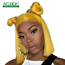 Short Lace Front Human Hair Bob Wigs For Black Women Brazilian Straight Lace Front Wig 13x4 Yellow Wig Lace Front NonRemy Wigs цены онлайн