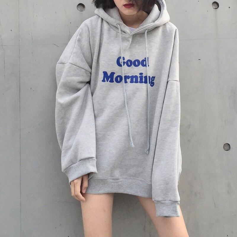 Morning Good Letters Printed Hoodie Sweatshirts Simple Hedge Casual Sweatshirt For Women