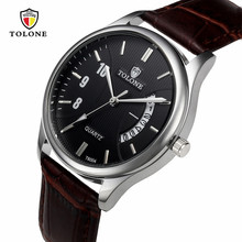New TOLONE Hot Luxury 12-hour Dial Leather Band Men's Date Watch Stainless Steel Leather Analog Quartz Military Watch