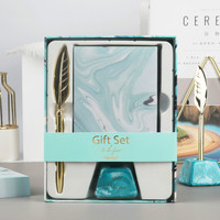 Light Blue Office Stationery Gift Box Pen Holder Feather Metal Pen memo Note Combination Set Escolar Kit Escolar Stationery Set