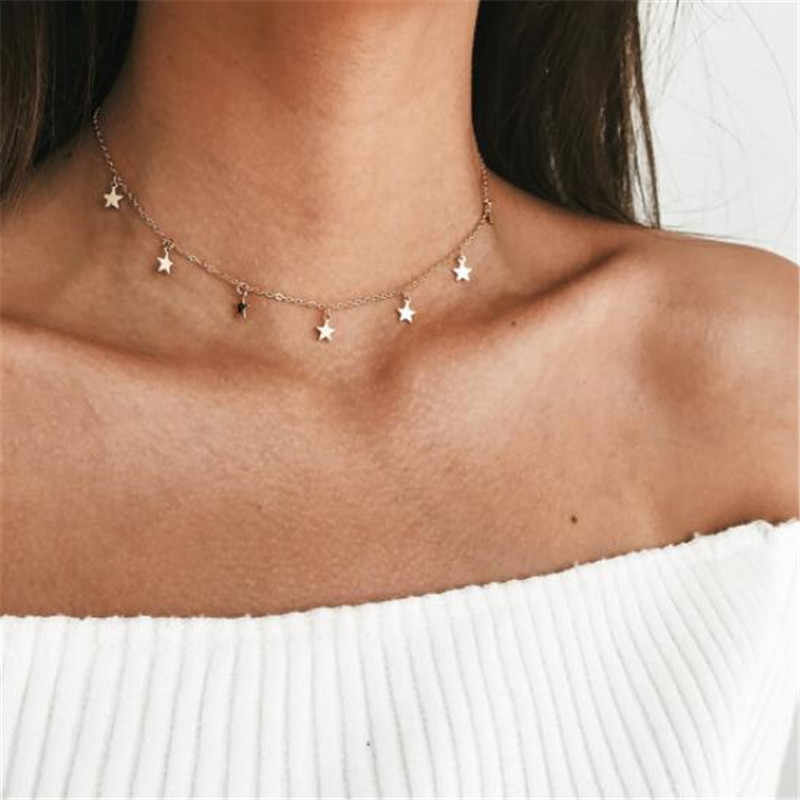 LUSION 2019 New Boho Women chocker gold Silver Chain star choker Necklace collana Kolye Bijoux Collares Mujer Collier Femme gift