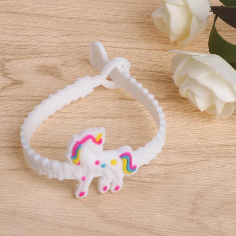 12 Pcs Silicone Unicorn Bracelet Kids Children Gifts Cute Animals Bangle Jewelry
