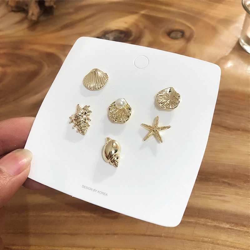 MENGJIQIAO 2019 New Korean 6pcs/set Fashion Sea Shell Conch Stud Earrings For Women Cute Pearl Starfish Brincos Jewelry Gifts