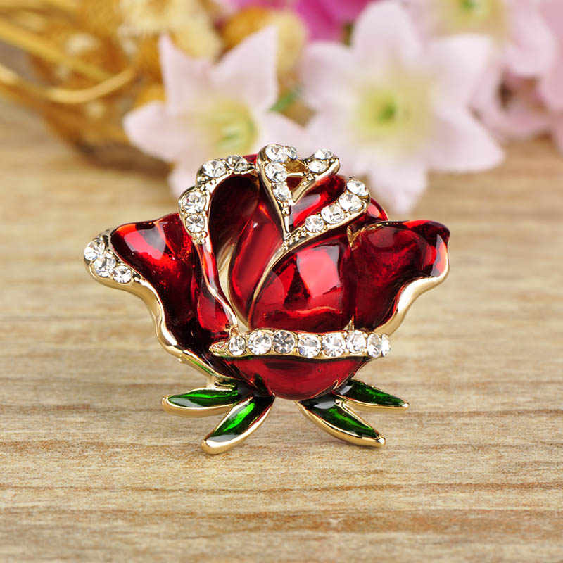 Blucome Romantico Del Fiore della Rosa Spille Per Le Donne Uomini Oro Cristalli di Colore Spilla Smalto Spilli Sciarpa Vestito di Vestito Decorazioni di Nozze