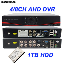 Via DHL 4CH 8CH 960H D1 H.264 HDMI Security CCTV DVR AHD DVR Recorder Full HD 720P 960P Mini DVR with 1TB HDD Hard Disk