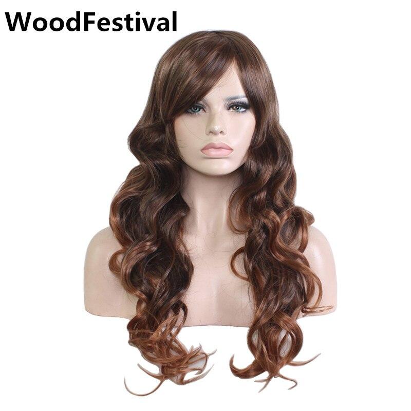 rose red de fibra resistente al calor peluca ondulada larga mujeres auburn brown pelucas de pelo