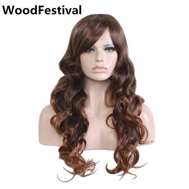 WoodFestival marrón oscuro Peluca de pelo largo ondulado peluca con flequillo  pelucas para las mujeres resistente b977b87c3b7e