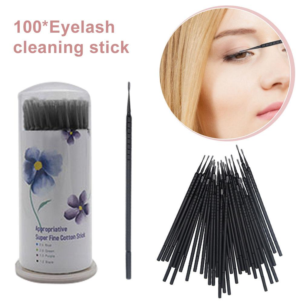 100pcs Disposable Cotton Swabs Eyelash Brushes Cleaning Swab Hot Natural Eyelashes Remover Microbrush Kit Applicators