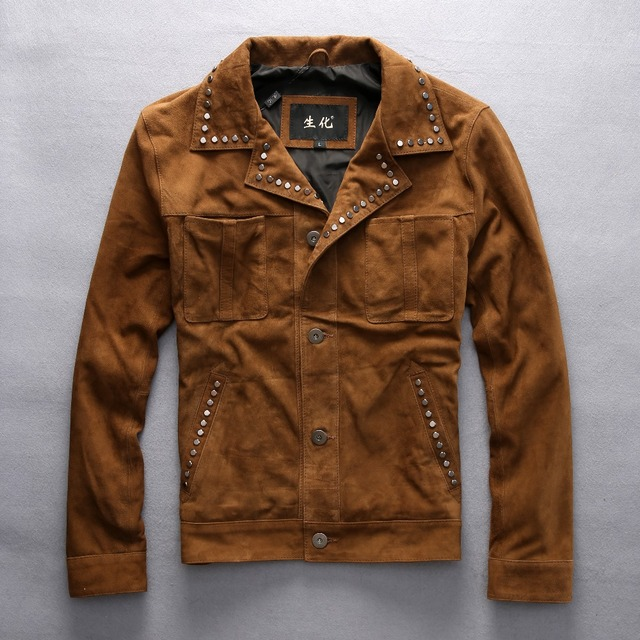 a4e4b7ef € 259.49  Vintage Rivet Suede chaqueta de cuero marrón amarillo estilo  vaquero slim fit biker chaqueta para hombres solapa bolsillos otoño ...