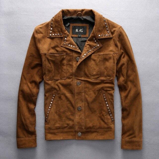 Hommes En Brun Cowboy Suede Jaune Vintage Cuir Style Rivet Veste pXwqET fcdba7b9244