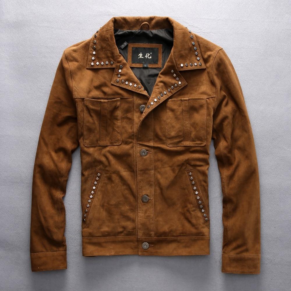 Vintage Rivet Suede Leather Jacket Men Yellow Brown Cowboy