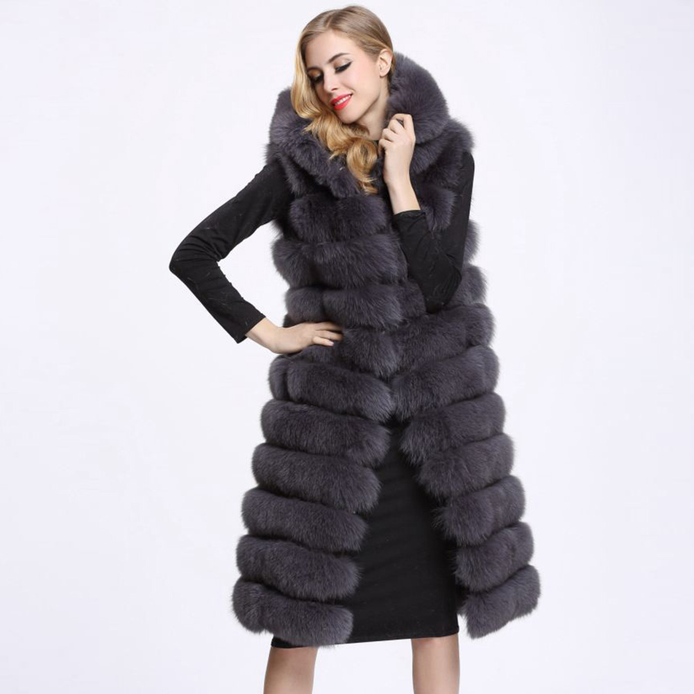 NEW Woman Long Faux Fur Vest coat High Quality 11 Lines Hooded Female Fur Outwear