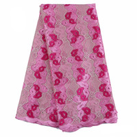 African Embroidered Mesh Tulle Lace Fabric with Beads And Peals for Party Dresses Making