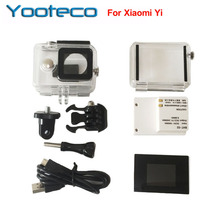 Para Yi Action Camera Lcd Screen display + 2400 Mah Bateria + Xiaomi Yi Caso Caixa À Prova D' Água + Adaptador para Camera Accessores Conjunto