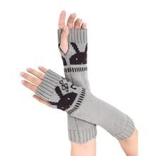 Winter Women Arm Warmers Half Finger Knitted Fingerless Gloves