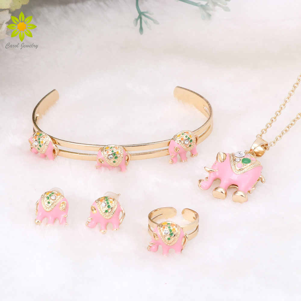 2017 Gold Color Lovely Elephant Children Jewelry Baby Jewelry Sets Kids Necklace Bracelet Earrings Ring Set