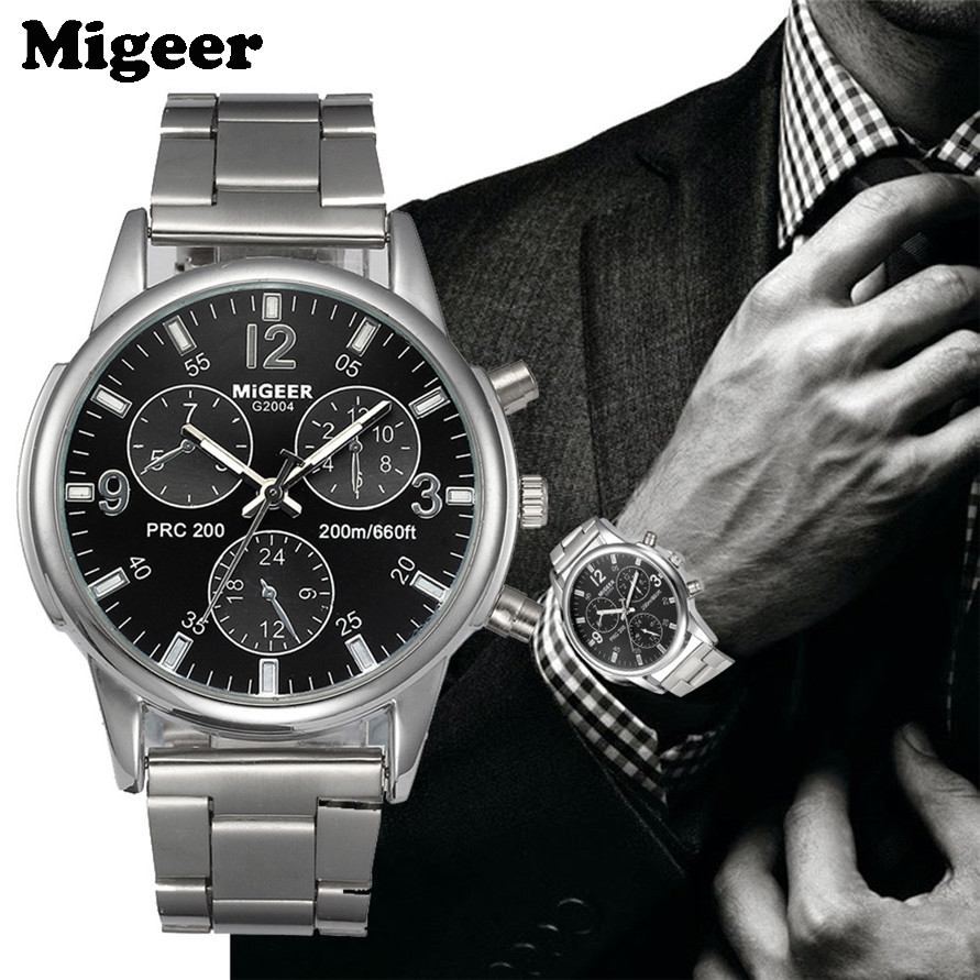 Men Watch MIGEER Male Fashion Stainless Steel Black Dial Quartz Watch 170704 Free Shipping pet safe electronic shock vibrating dog training collar with remote control 2 x aaa 1 x 6f22 9v