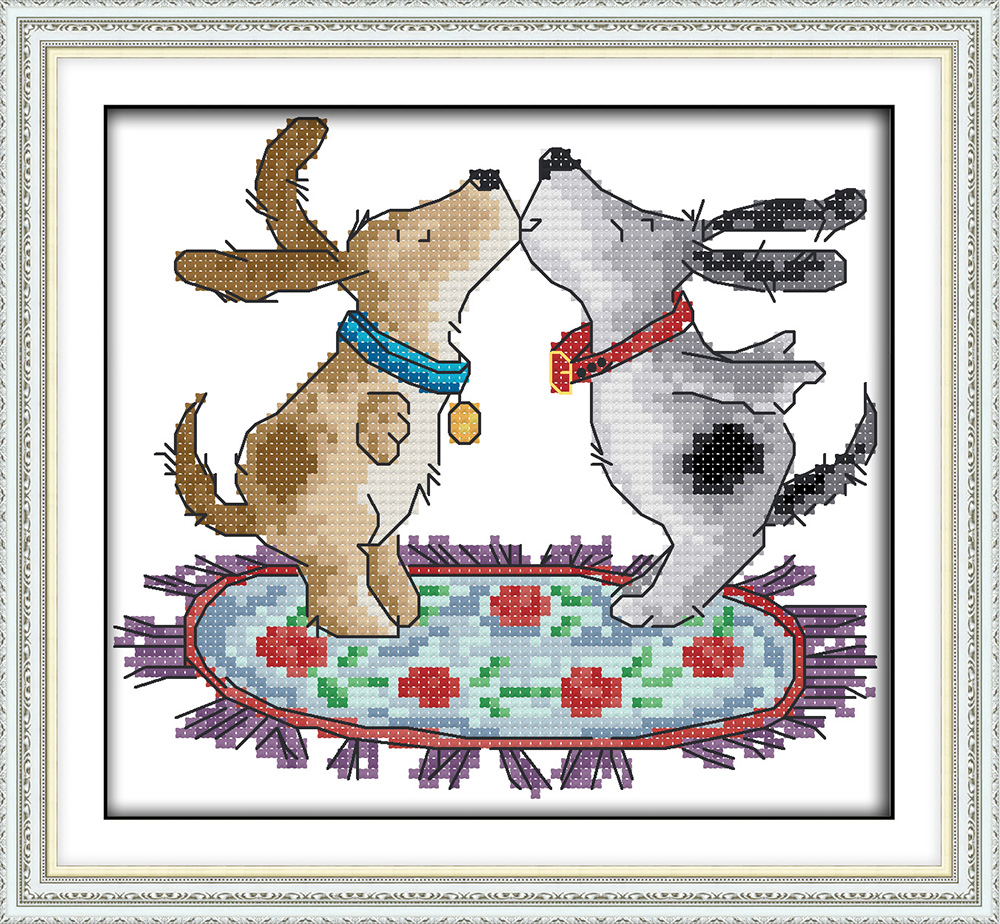 Joy Sunday D933D935D936D937 Free Shipping Home Decor Sled Butterfly Kiss Writing Dog Animal Needlepoints Cross Stitch Kits
