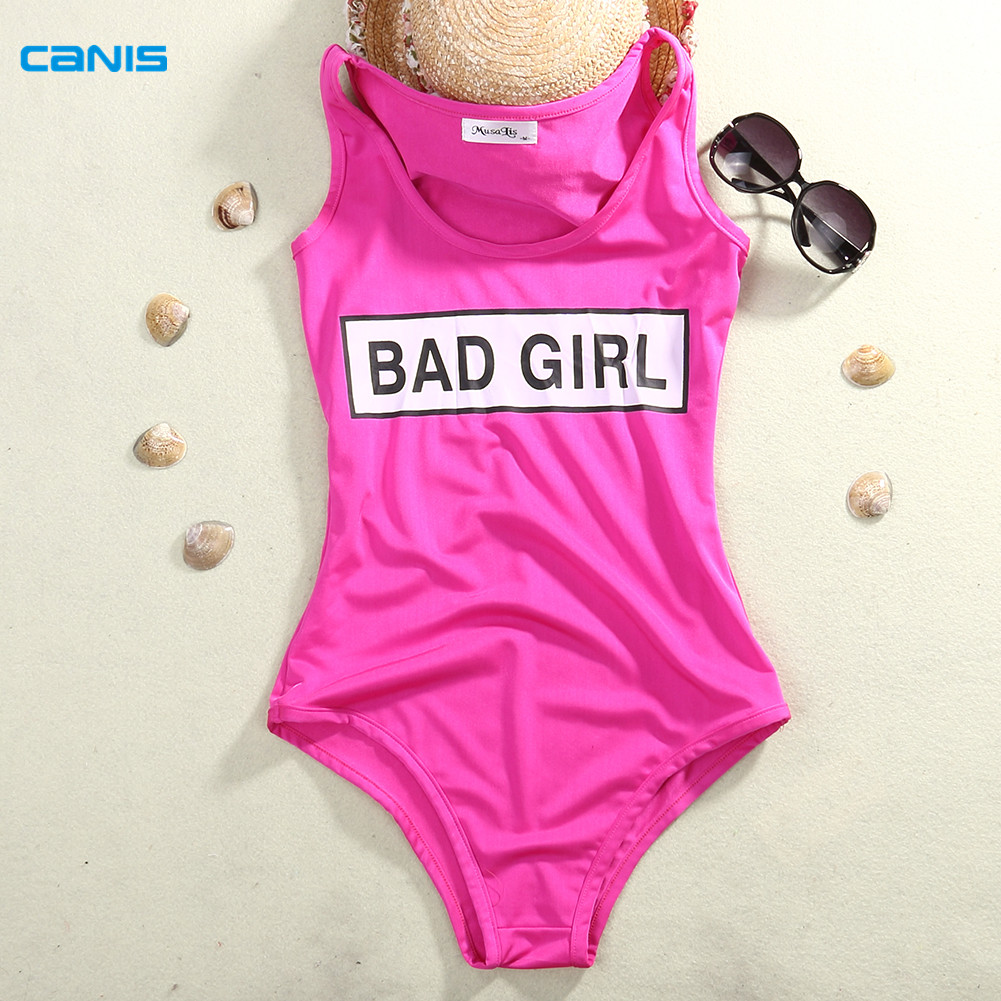 2016 Solid Bad Girl Monokini Swimsuit Sexy One Piece Swim Suits Women Bathing Suit L
