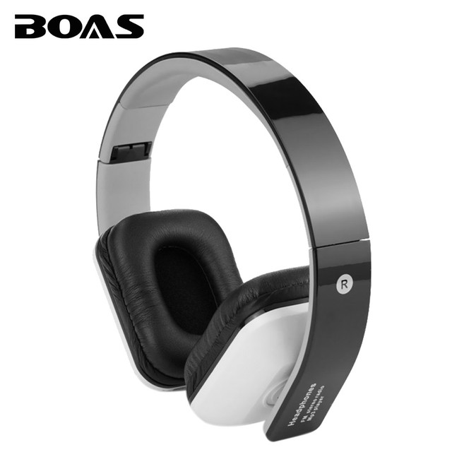 BOAS wireless bluetooth earphones stereo foldable headphones over ear headset FM radio TF card with microphone for iphone xiaomi