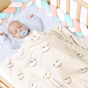 Image 5 - Baby Blankets Knitted Cotton Newborn Crib Bedding Blanket Cute Infant Boys Girls Stroller Basket Covers 100*80cm Kids Quilts