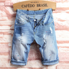 Модные Для мужчин плюс Размеры средней талией корейский стиль отверстие бык-штамповщика трусики промывали мужские летние Джинсовые шорты