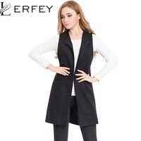 LERFEY חזיית מעיל תערובת צמר נשים אפוד האביב תלבש גבירותיי משרד ארוך חזיית מעיל אפוד שרוולים מזדמן בתוספת גודל