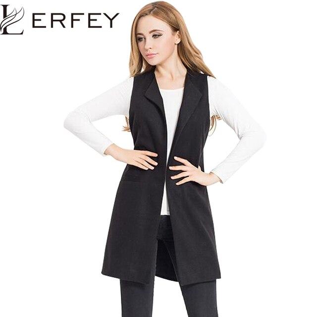 LERFEY Spring Vest Women Wool Blend Coat Waistcoat Ladies Office Wear Long  Waistcoat Casual Sleeveless Vest