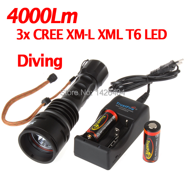 4000 Lumen 3 x XML T6 LED Diving Flashlight Torch Diver Flash Light with Battery - 50M Underwater Waterproof sanyi diving light xml t6 led dive flashlight zoomable lamp torch underwater 50m waterproof 18650 battery diver torch flashlight