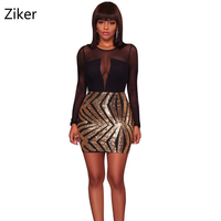 Sexy Mesh Sequins Patchwork Women Dresses Fashion O Neck Long Sleeve Backless Hollow Out Bodycon Mini