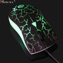 Hot-sale MOSUNX High Quality Game Mouse Gifts Crack Optical Colorful Light 2000DPI USB Wired Gaming Mouse Mice For PC Laptop