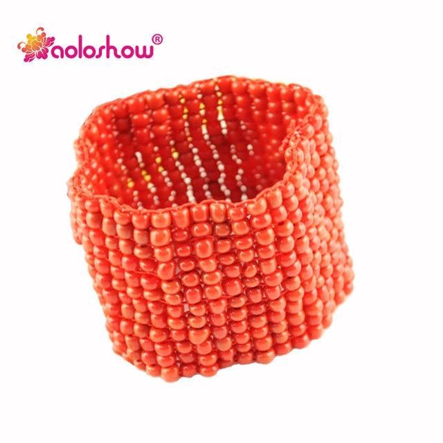 4ddbbc31e AOLOSHOW Fashion White Seed Beads wide bracelet Women Jewellery Handmade  Bangles Multi Row cuff bracelet Elasticity size BR-1244