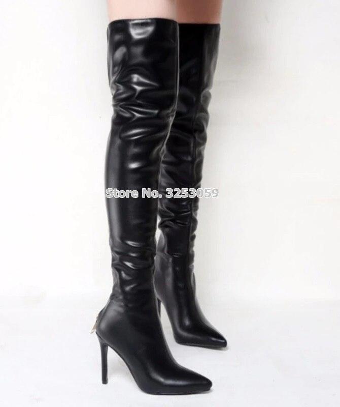 Picture Otoño De Las Invierno Botas Alta Almudena Gran Del Cremallera Sobre Cuero As Negro Señoras Vestir Larga Muslo Zapatos Punta La Rodilla Venta BwwdZtqax