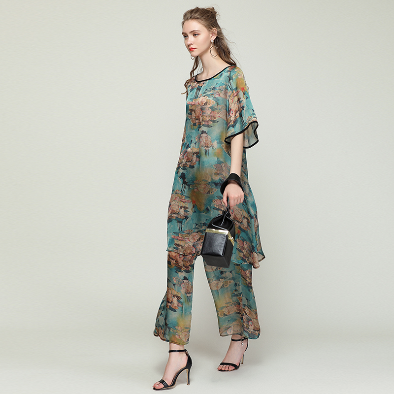 Womens Plus size Casual suits loose print Elegant two piece Summer new tops and pants Elastic waist crew neck short sleeve suit in Women 39 s Sets from Women 39 s Clothing